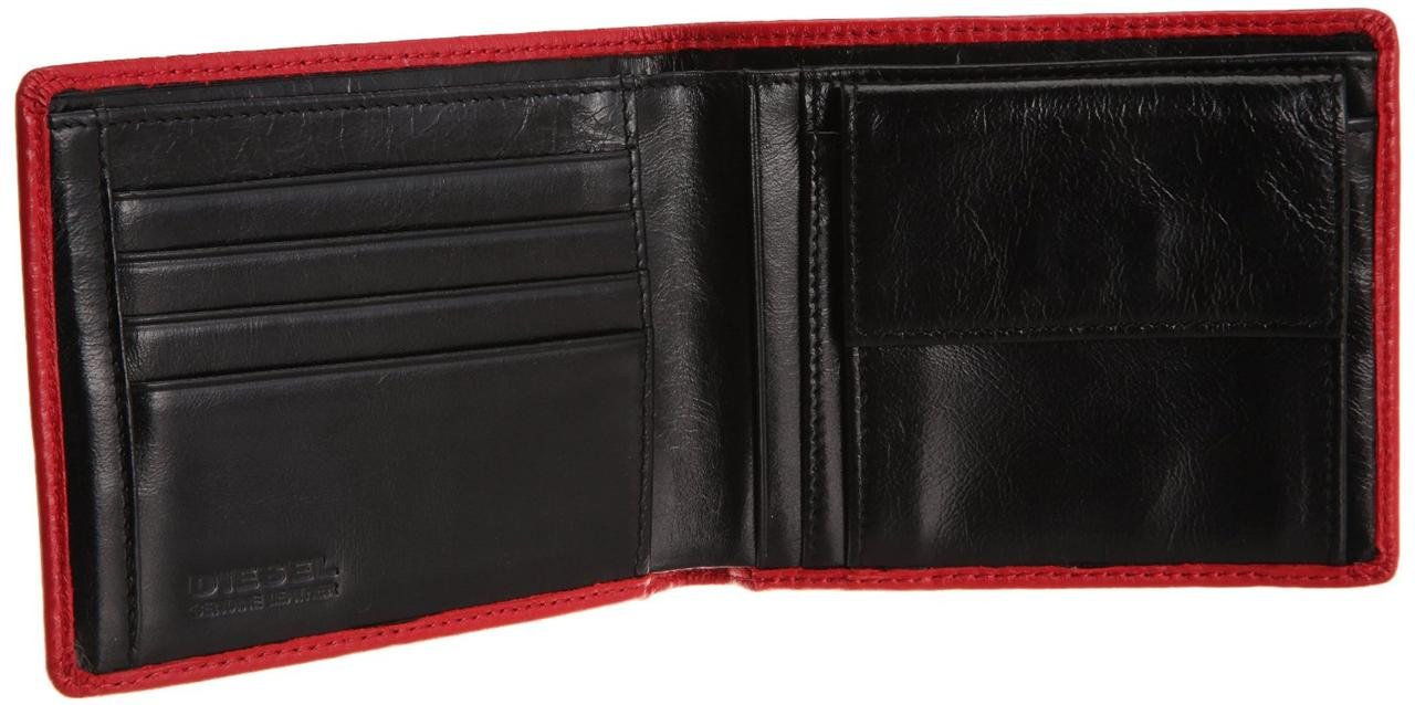 Diesel hiresh mens leather wallet red black 11cm x for A href text decoration