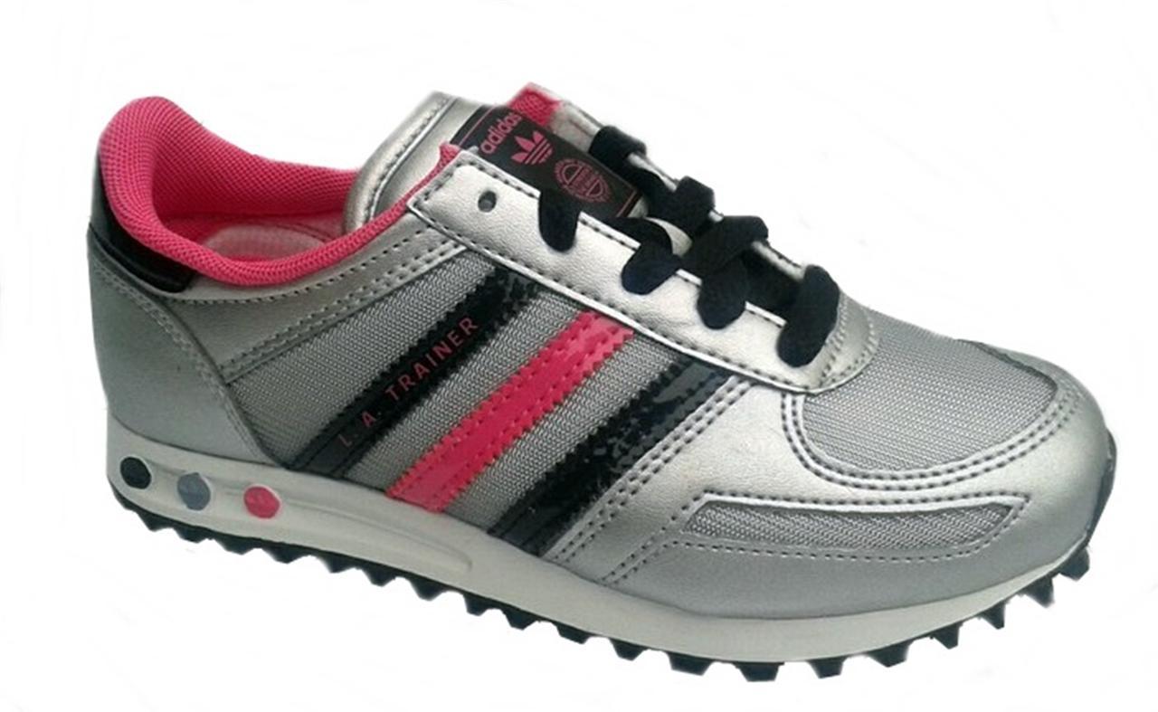 adidas kids la trainer q33594 silver black pink sizes 10. Black Bedroom Furniture Sets. Home Design Ideas