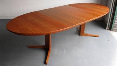 Rare 60 39 s danish teak oval extending dining table danish for G plan teak dining room furniture