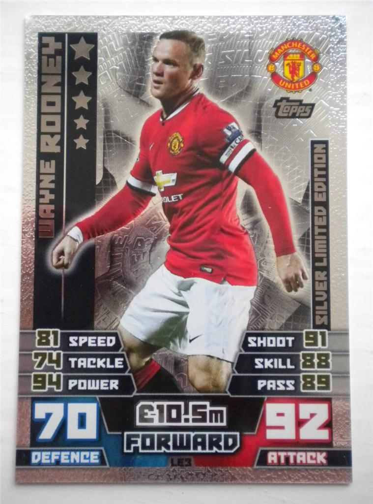 Wayne Rooney Match Attax Details about MATCH ATTAX LE WAYNE ROONEY GOLD SILVER