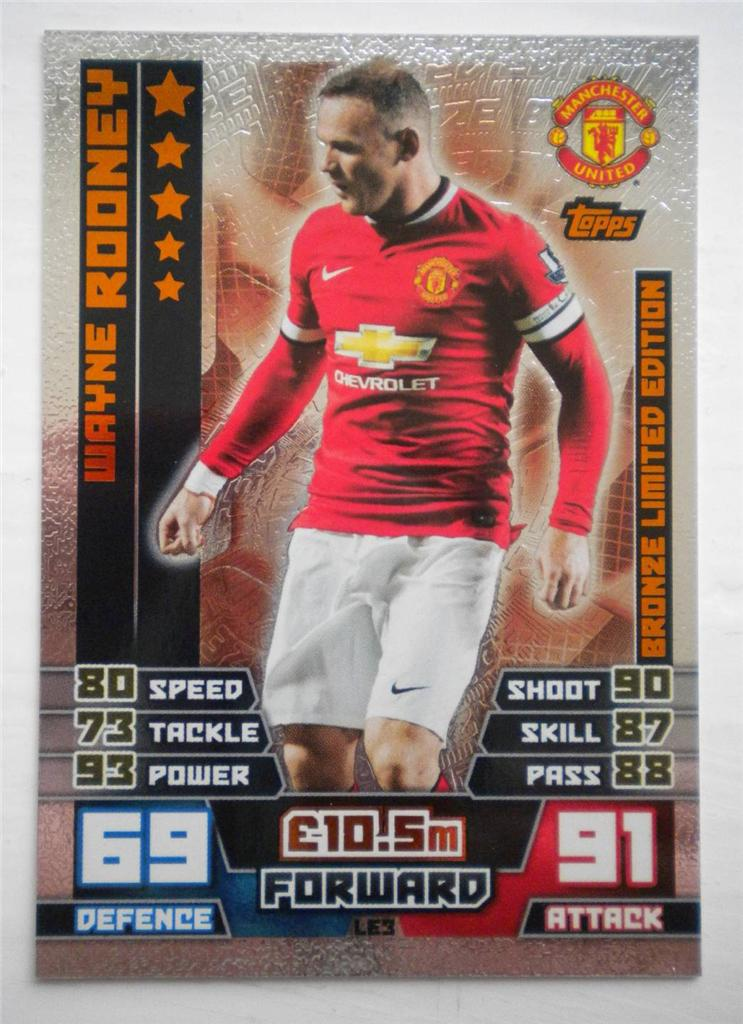 Wayne Rooney Match Attax Sports Memorabilia Football Memorabilia Trading Cards Stickers