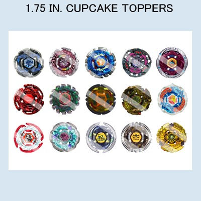 Edible 1 5 in in in 2 in cupcake cookie for Anime beyblade cake topper decoration set