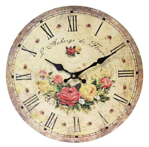 floral wall clock 34cm french chic shabby vintage country