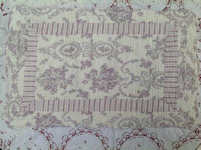 quilt patchwork plaid tagesdecke shabby chic 240 x 260 rosen toile de jouy ebay. Black Bedroom Furniture Sets. Home Design Ideas