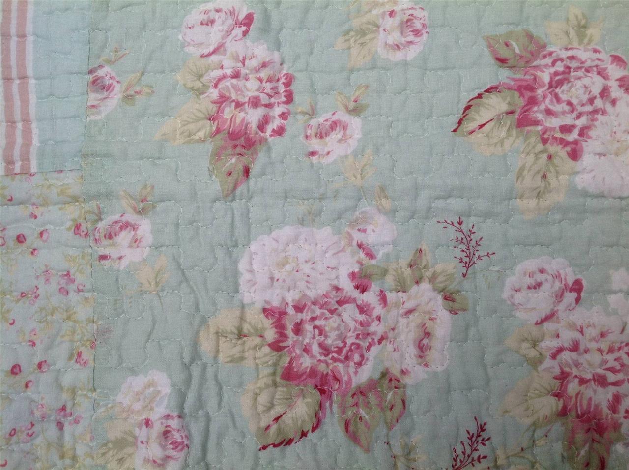 details zu quilt patchwork tagesdecke shabby chic 240 x 260 rosen. Black Bedroom Furniture Sets. Home Design Ideas