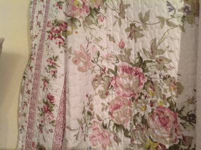 quilt patchwork tagesdecke rosen shabby chic 170 x 230 cm ebay. Black Bedroom Furniture Sets. Home Design Ideas