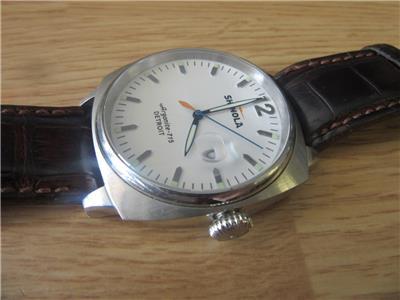 Shinola argonite 715 detroit white dial mens leather strap watch ebay for Argonite watches