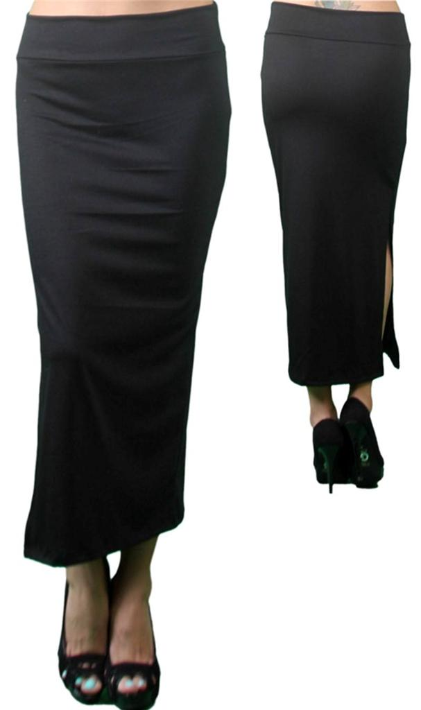 misses size 14 black maxi pencil skirt with slit ebay