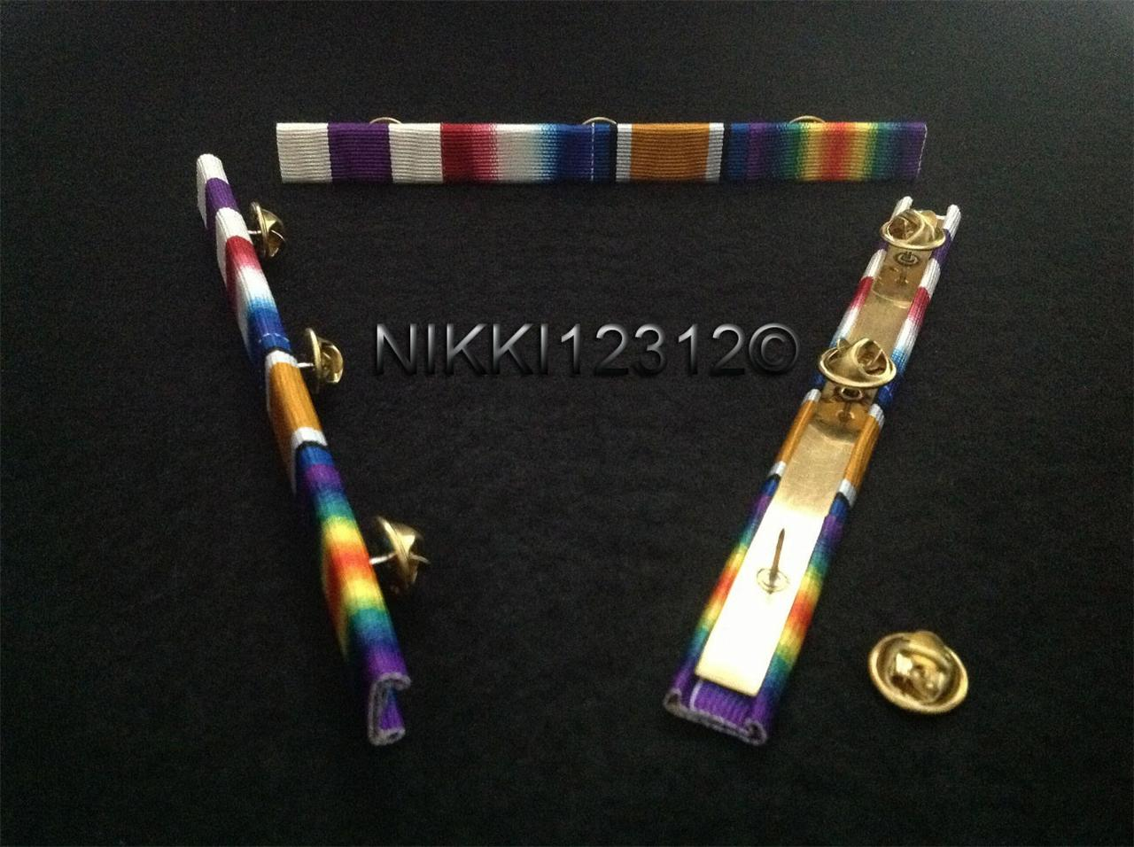 WW1-MILITARY-CROSS-STAR-BWM-VICTORY-MEDAL-RIBBON-BAR-TRIO-OAK-LEAF-OPTION