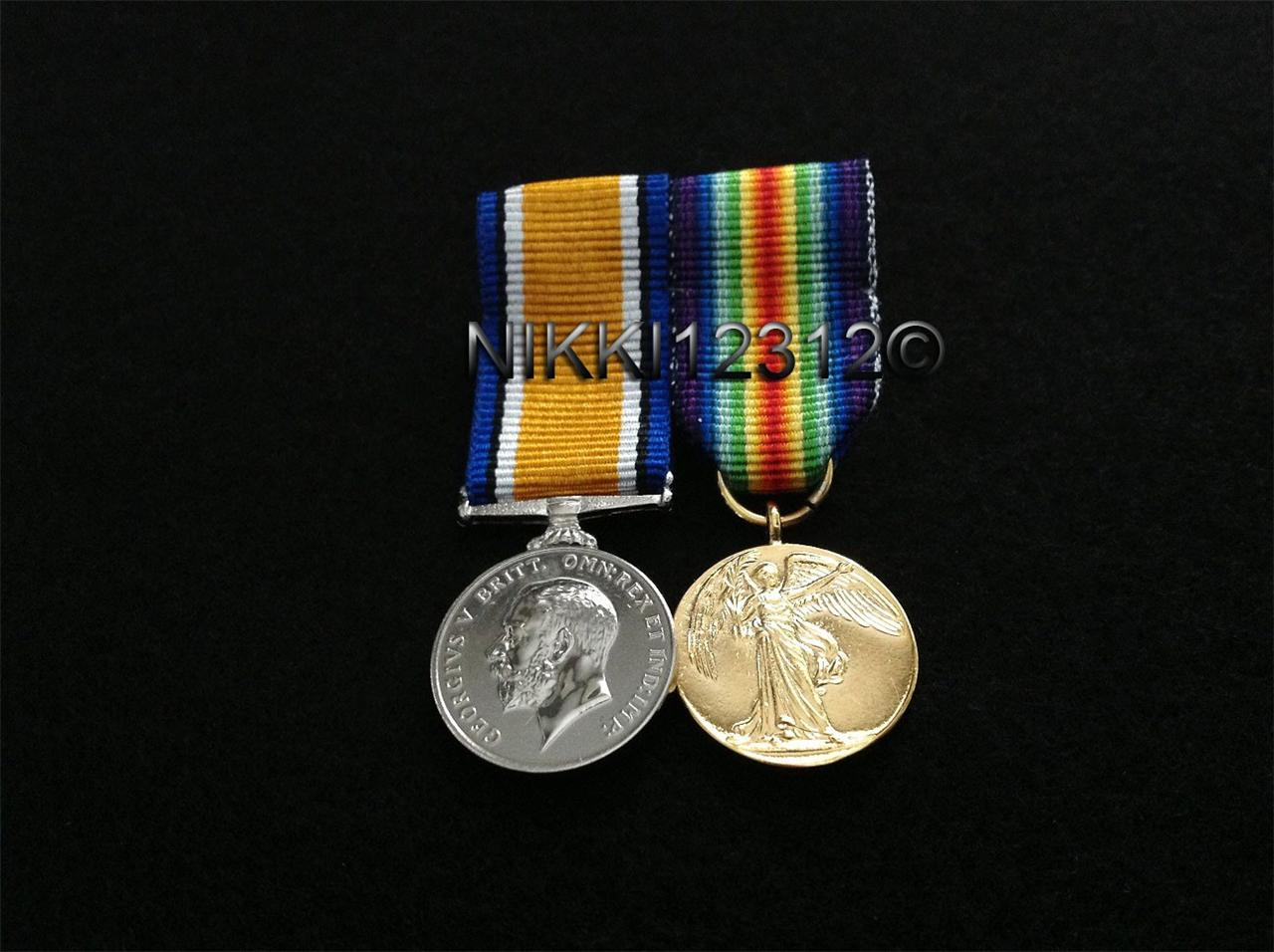 MINIATURE-WW1-PAIR-BRITISH-WAR-MEDAL-VICTORY-MEDAL-MOUNTING-OPTIONS