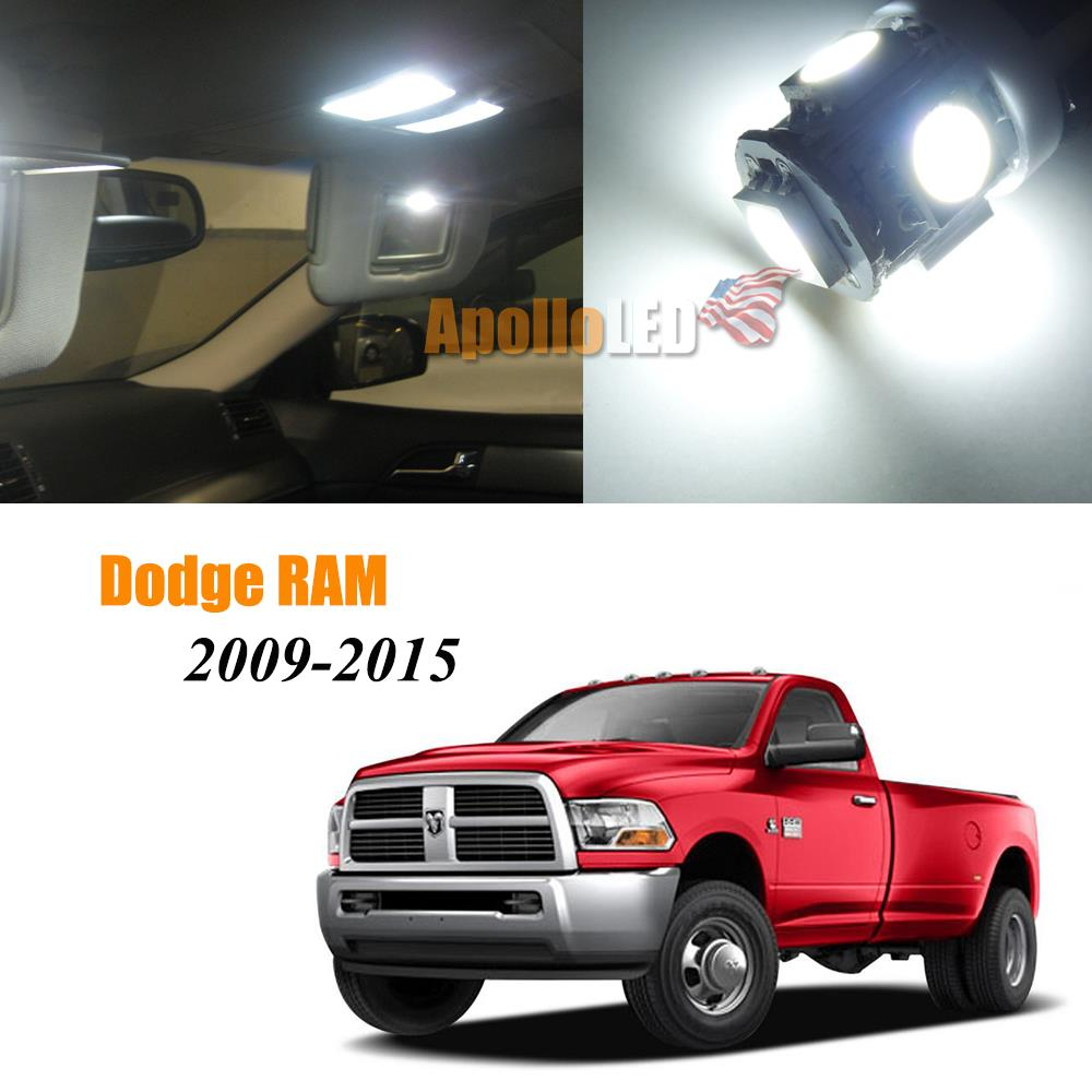 Full White Led Lights Interior Package For 2009 2015 Dodge Ram 1500 2500 3500 Ebay