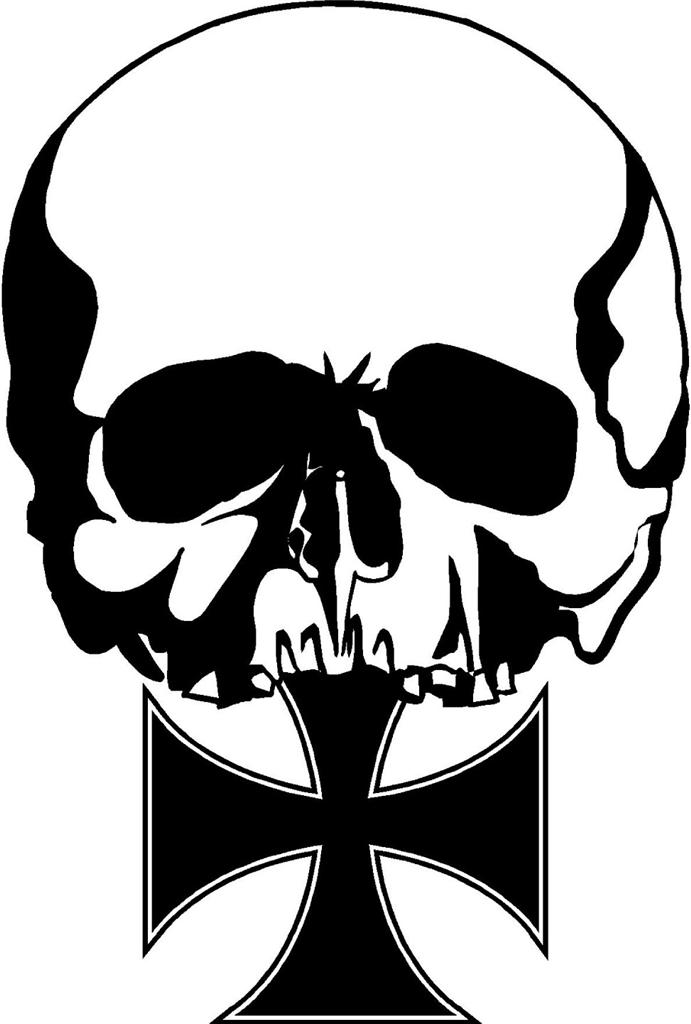Details about Iron Cross Skull Tattoo Style Skull sticker bike scooter ...