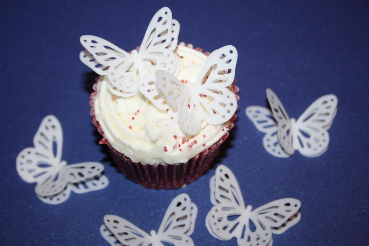 Edible Cake Decorations Fairies : 3D EDIBLE 24 WHITE BUTTERFLIES Cup Cake FAIRY Toppers ...
