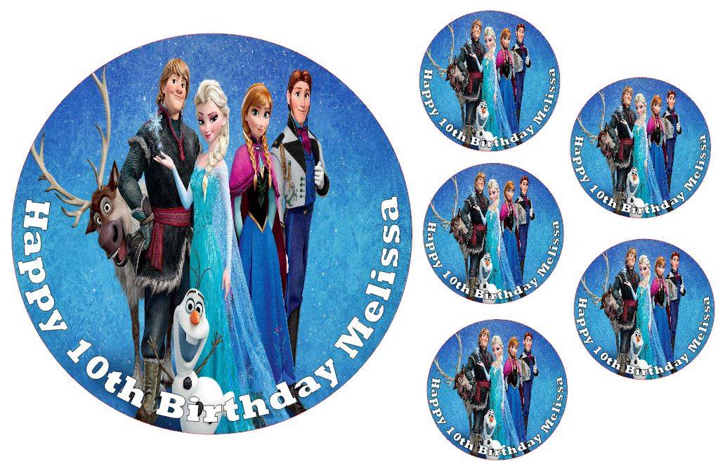 Edible disney frozen birthday party 24 cup cake toppers icing ebay