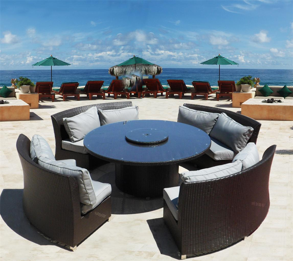 Austin round sofa sectional dining set outdoor wicker for Outdoor furniture austin