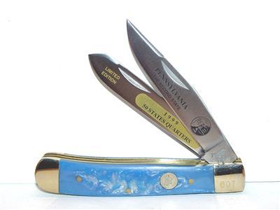 Pennsylvania State Quarter Knife Set 4 1 4 Blue Handle