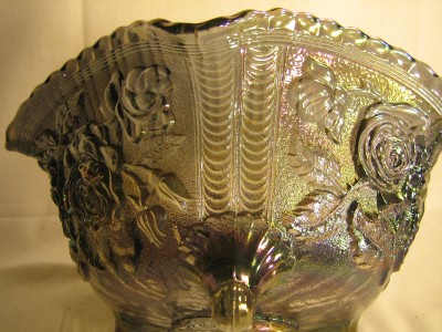 BEAUTIFUL LARGE ANTIQUE IMPERIAL BLUE CARNIVAL GLASS BOWL RARE