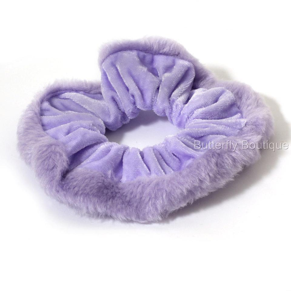 Large-Velvet-Effect-Pastel-Colour-Scrunchie-Hair-Elastic-Bobble-with-Furry-Edge