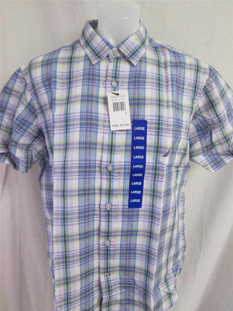 nautica mens 817394 madras plaid button down short sleeve