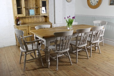 Rustic farmhouse 6 5ft shabby chic large solid pine dining for Rustic shabby chic dining table