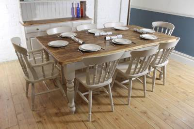 Rustic farmhouse vintage 7ft shabby chic solid pine dining for Rustic shabby chic dining table