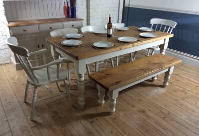 Rustic farmhouse 7ft shabby chic solid oak top dining for 7ft dining room table