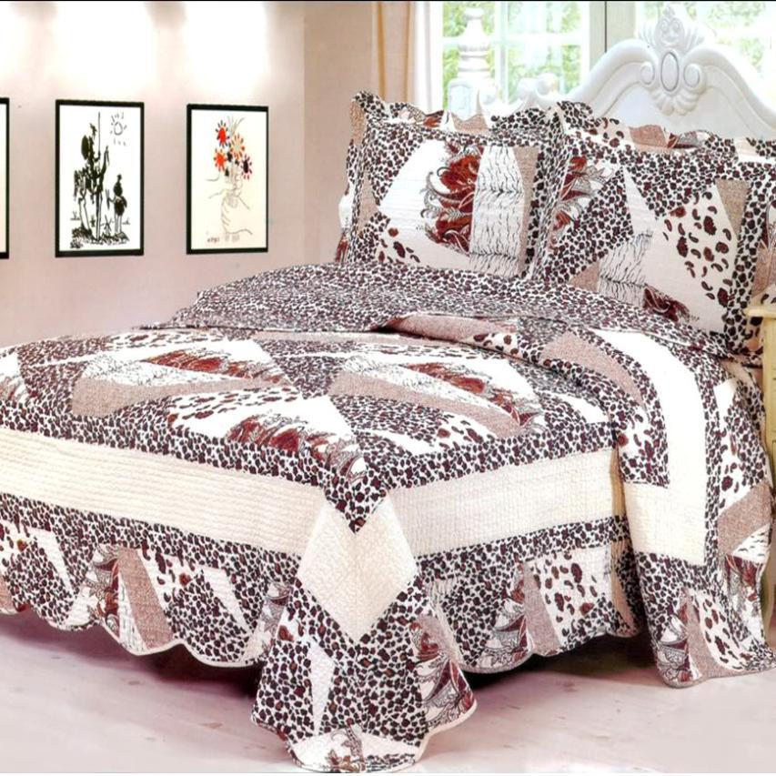 3pc cotton leopard animal print bedspread quilt coverlet set queen bed in a bag ebay. Black Bedroom Furniture Sets. Home Design Ideas