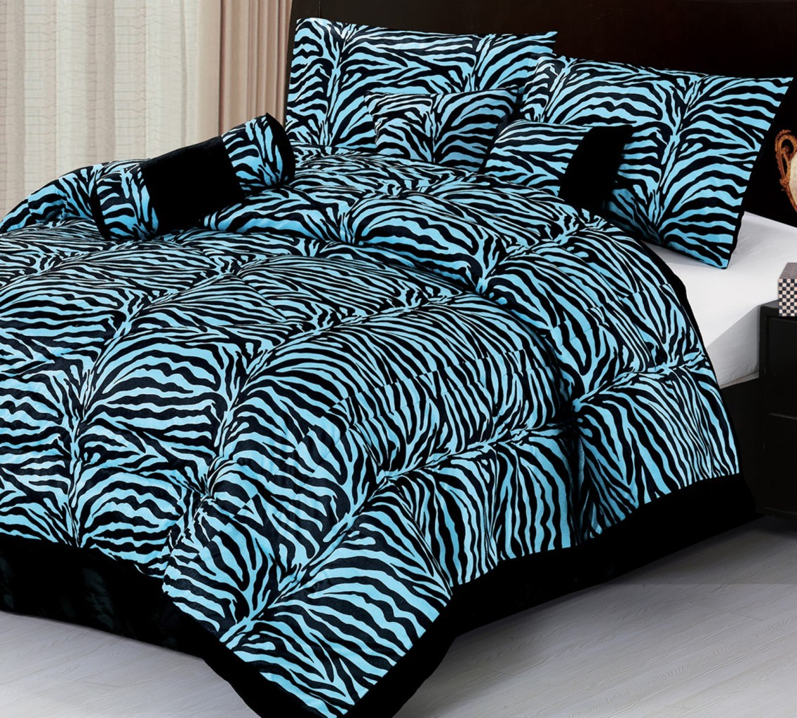 7pc new safarina blue zebra faux fur comforter set king bed in a bag ebay. Black Bedroom Furniture Sets. Home Design Ideas