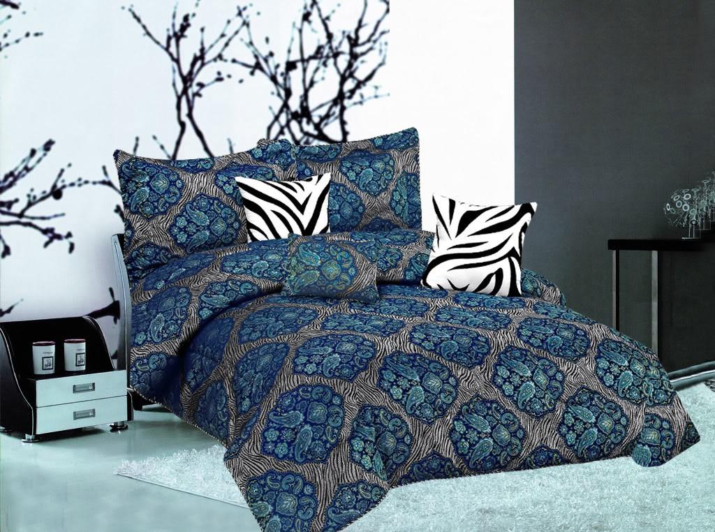 resell 7pc paisley zebra animal print faux silk comforter set king size sale. Black Bedroom Furniture Sets. Home Design Ideas