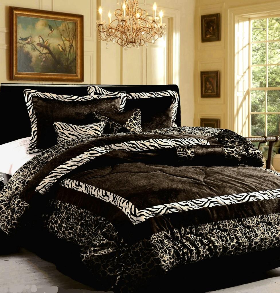 15PC NEW Luxury Faux Fur Safarina Black & White KING