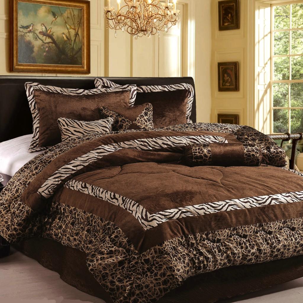 new 7pc in set luxury safarina brown zebra animal bedding king comforter set ebay. Black Bedroom Furniture Sets. Home Design Ideas