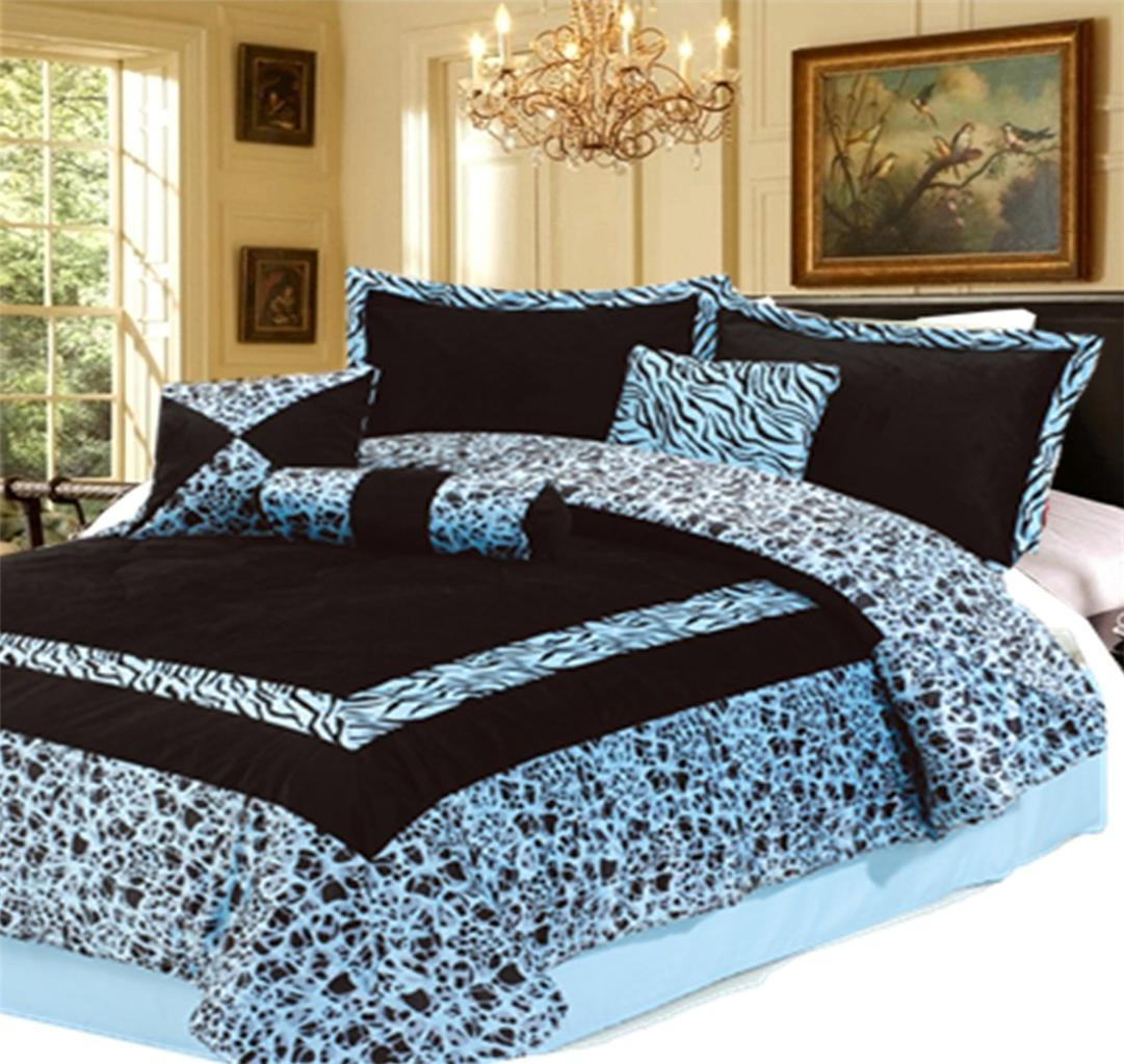 7pc new blue faux fur zebra animal print comforter set queen ebay - Cheetah print queen comforter set ...