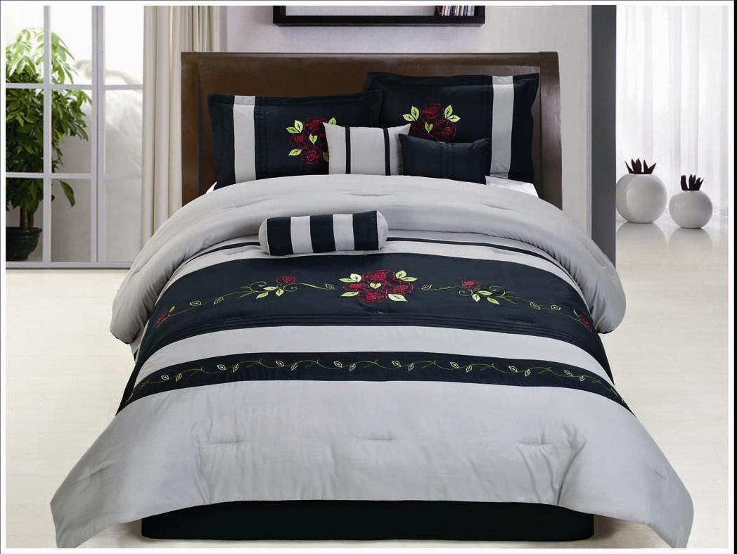 15pc Black Grey Embroidery Queen Comforter Set With Matching Curtain Set On Sale Ebay