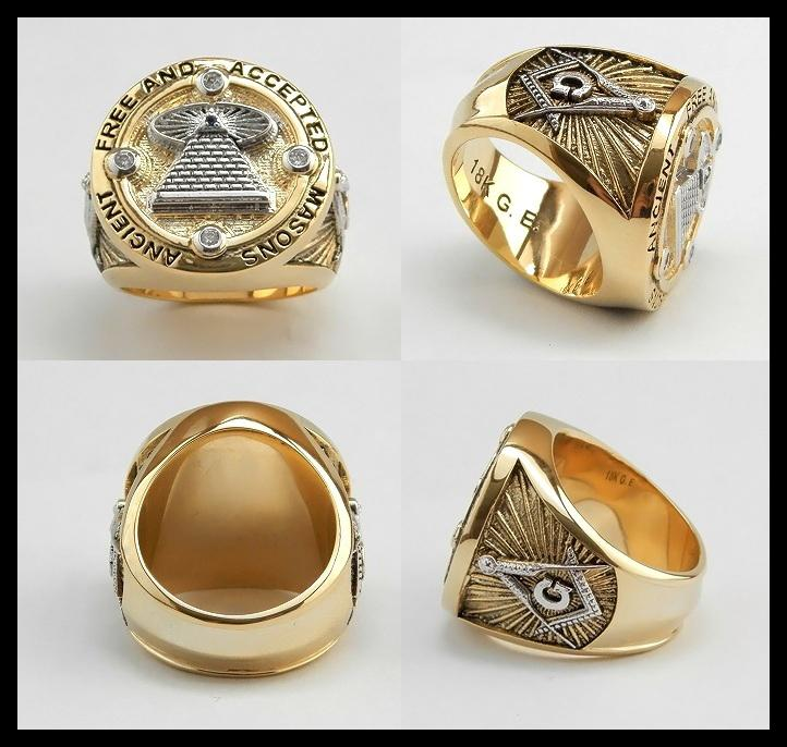 Masonic Custom Made All Seeing Eye Ring Unique, 18K 2Tone