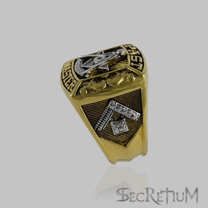 masonic past master ring 18k gold plated unique design