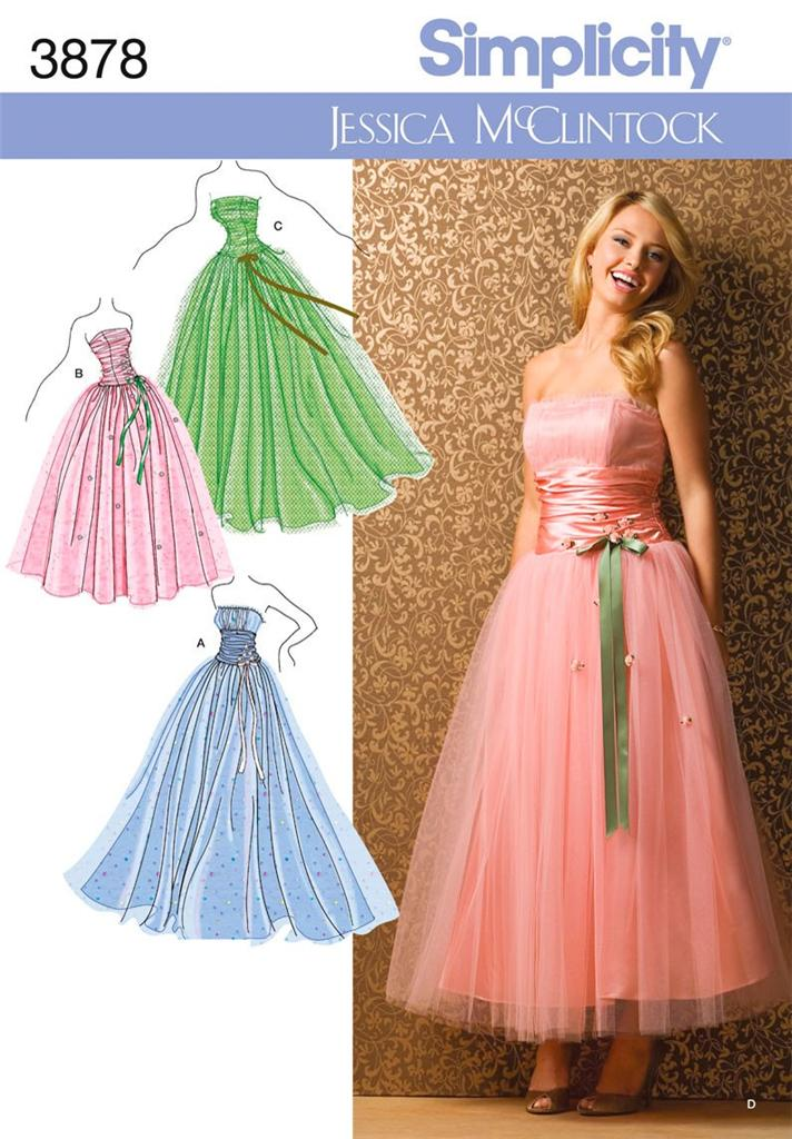 ... -3878-Sewing-Pattern-Ladies-Teens-Dress-Prom-Gown-Special-Occasion