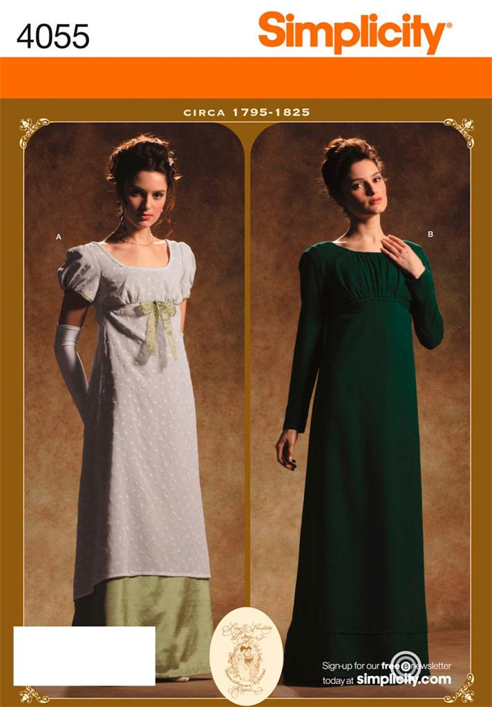 Simplicity-4055-Pattern-Misses-Historical-Period-Regency-Gown-Dress-Costume