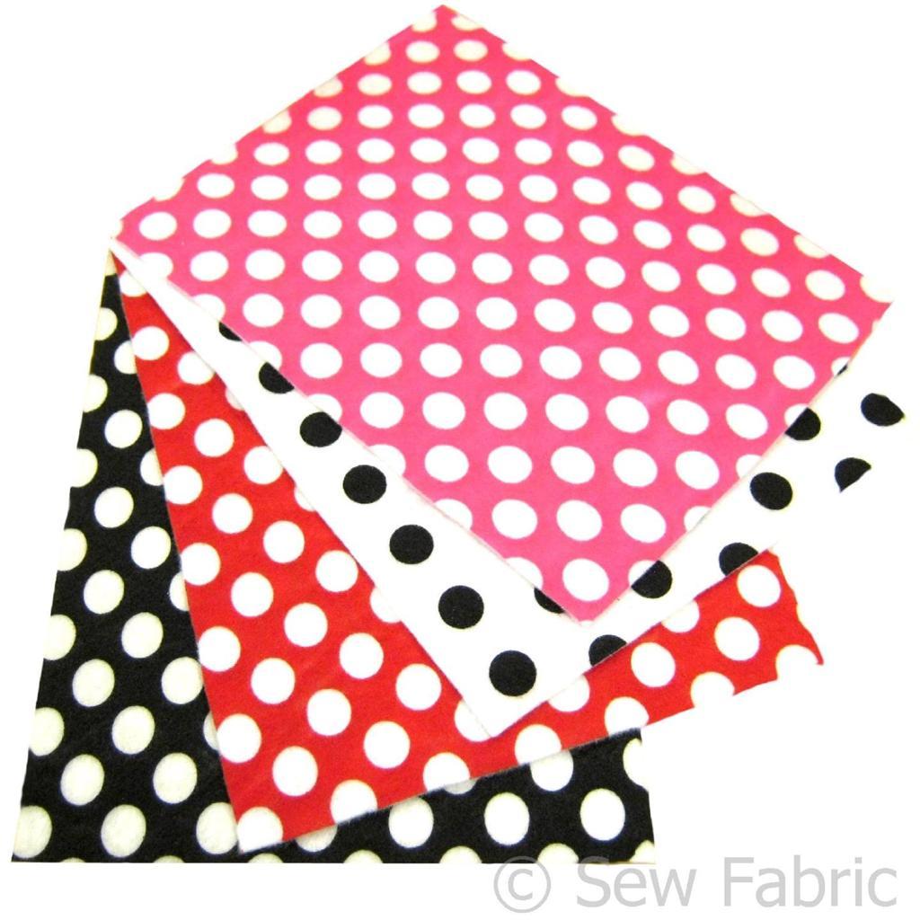 Polka dot craft felt rectangles 23x30cm a4 acrylic red for Polka dot felt fabric