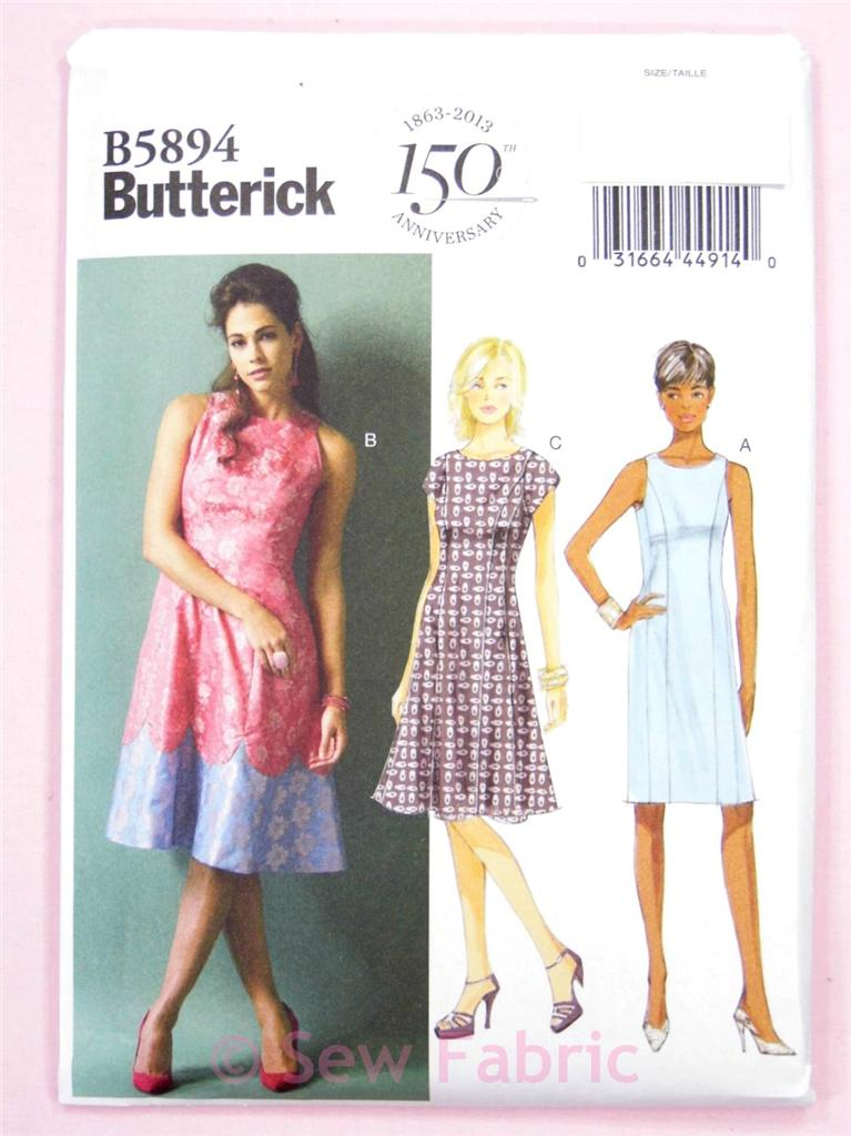 Butterick-5894-Sewing-Pattern-Misses-Dress-Semi-Fitted-Lined-Easy