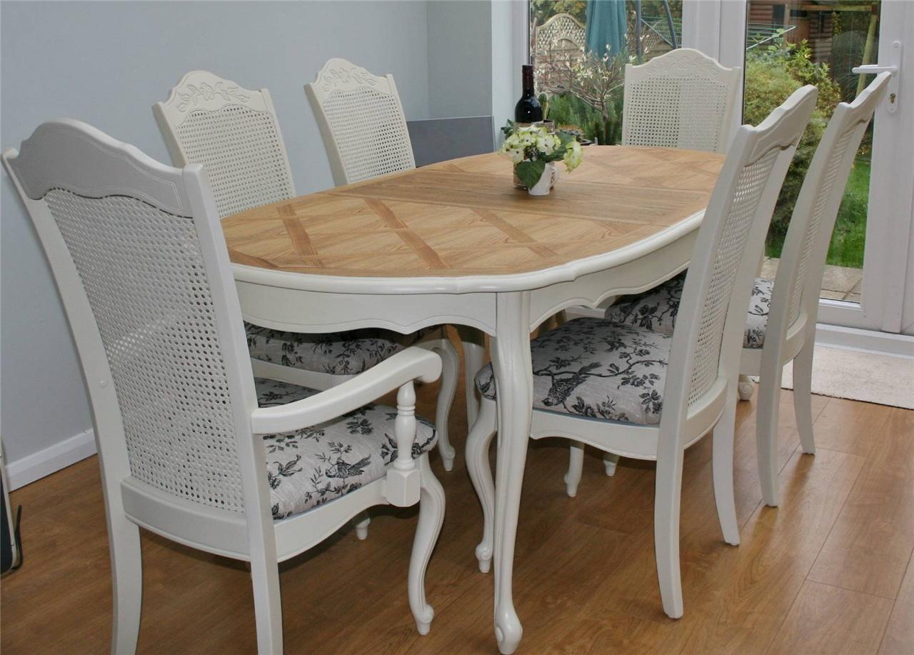 Stunning shabby chic french bergere table and 6 chairs for Table bergere