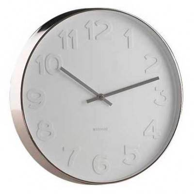 Large Karlsson Wall Clock Mr White Numbers 51cm W Steel