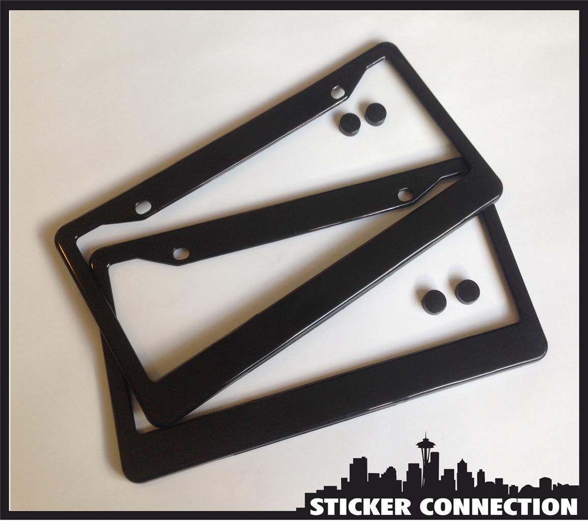 Black Blank License Plate Frame Premium Set Plastic Cover