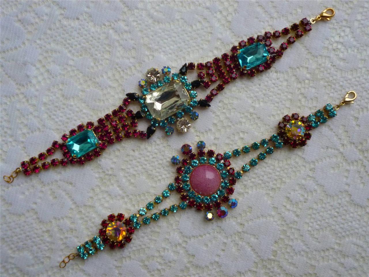 Vintage Antique Art Deco Czech Glass Rhinestone 2X Bracelet