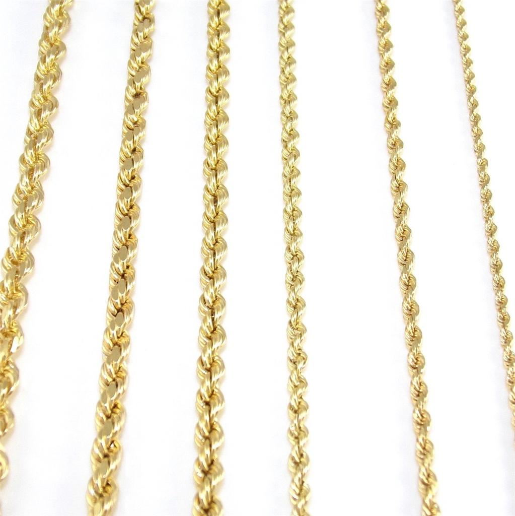real solid 14k yellow gold rope chain necklace you pick. Black Bedroom Furniture Sets. Home Design Ideas