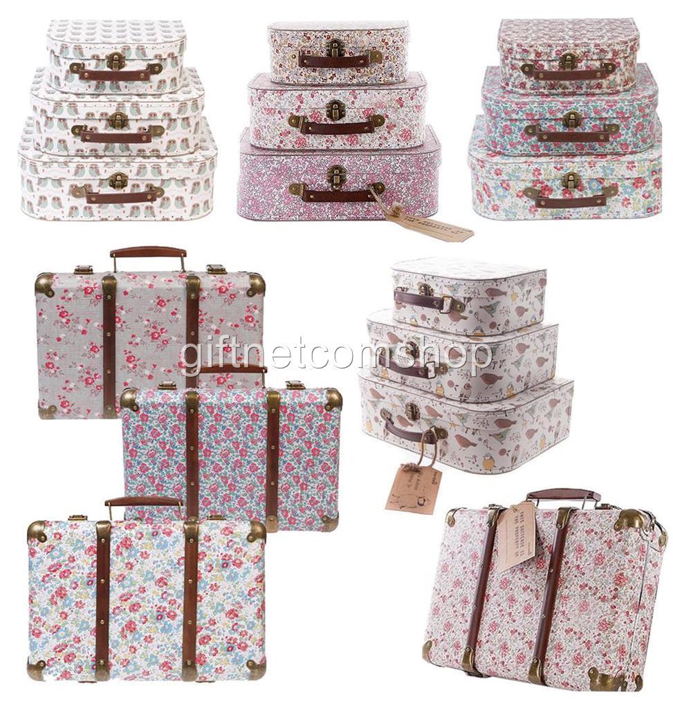 Vintage-Floral-Suitcases-Set-Of-3-Storage-Boxes-Choice-Of-School-Suitcase-Box