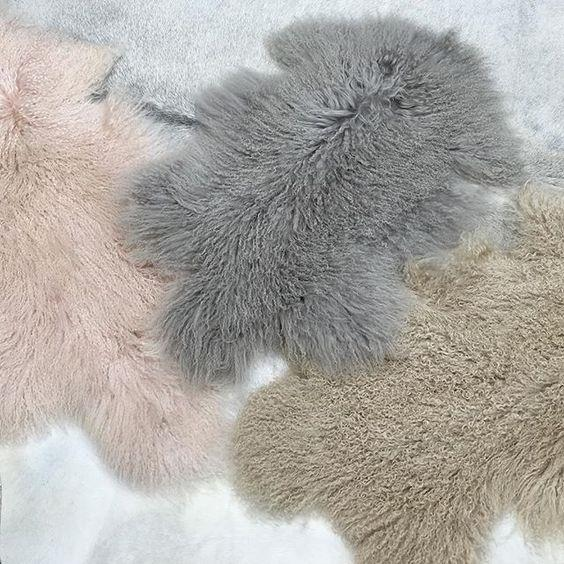 BABY PINK GENUINE MONGOLIAN SHEEPSKIN HIDE LONG HAIR FUR