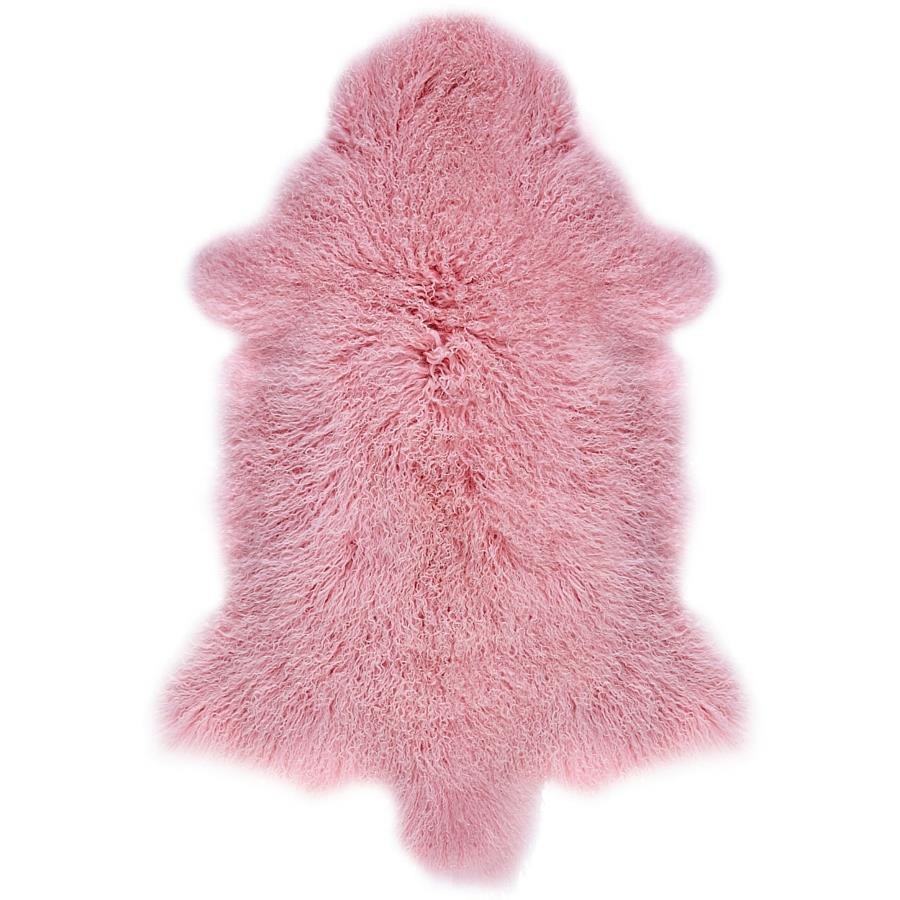 PINK GENUINE TIBETAN MONGOLIAN SHEEPSKIN HIDE LONG HAIR