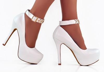 HOT WHITE LEATHER GOLD ANKLE STRAP HIDDEN PLATFORM STILETTO HEELS