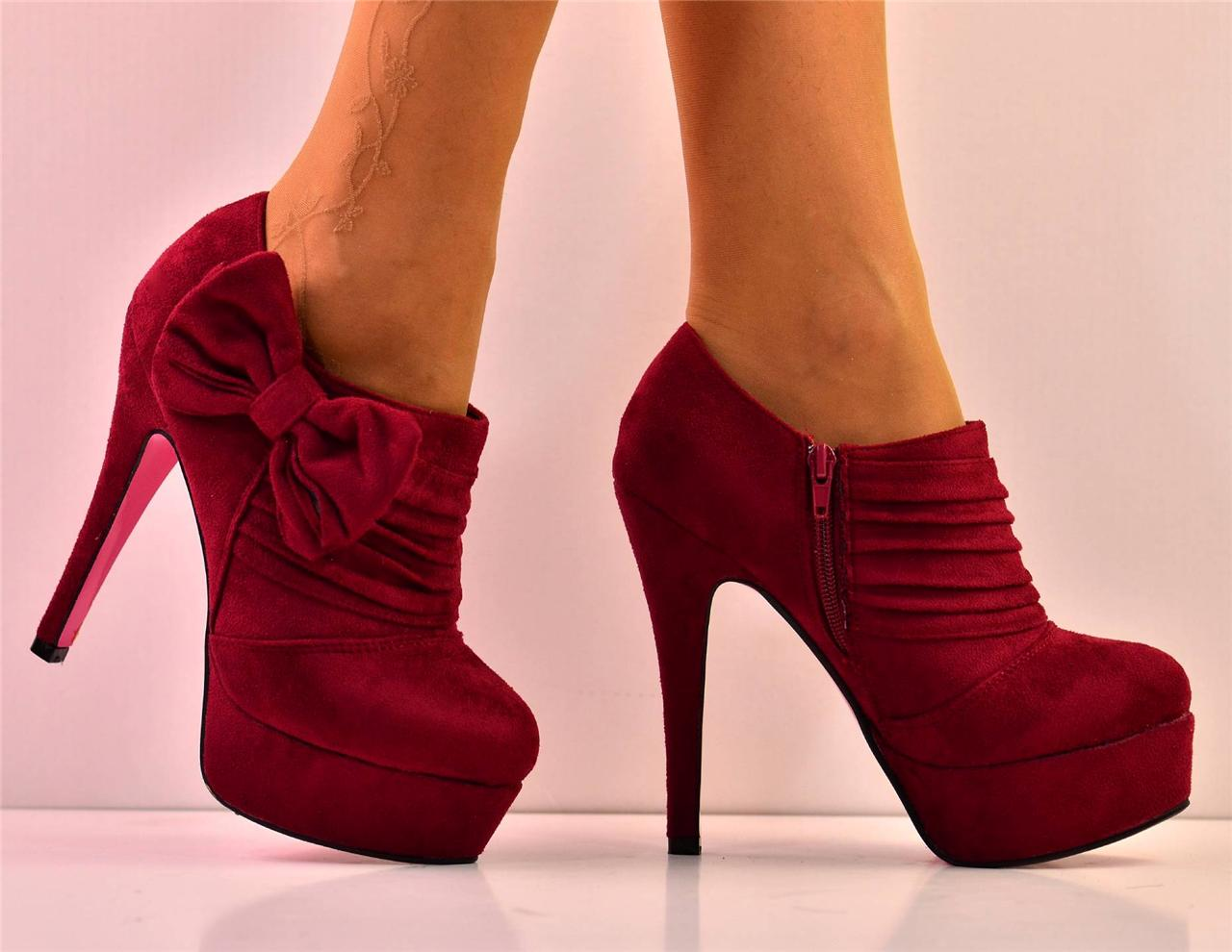 new size uk 7 maroon bow suede platform high