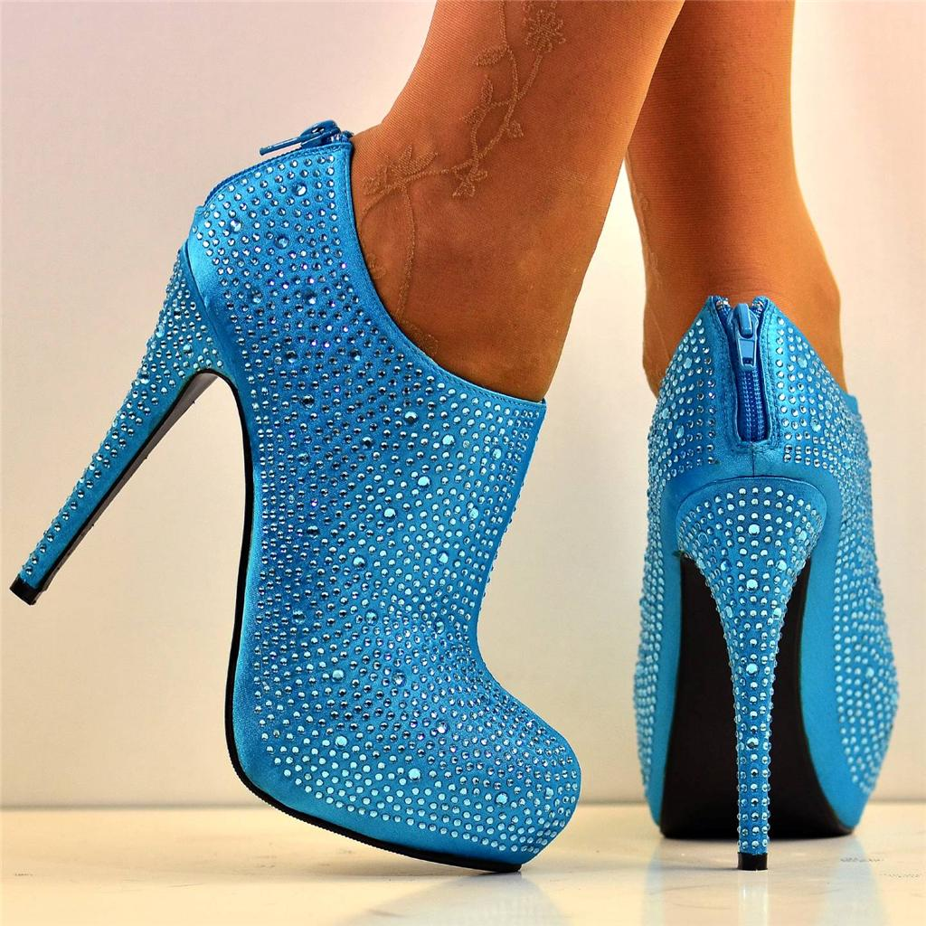 new size 6 light blue diamante glitter high heel